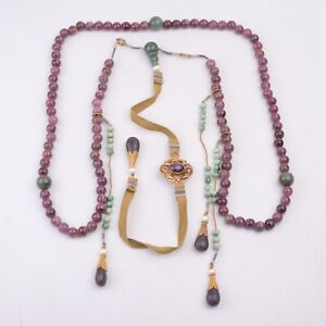 Antique Chinese Tourmaline and Jadeite Beads Necklace Chaozhu