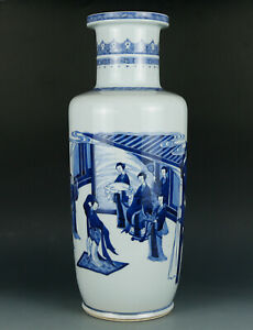 Large blue and white chinese porcelain vase with figurines painting