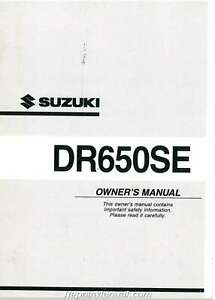 2003 Suzuki DR650SEK3 Motorcycle Owners Manual : 99011