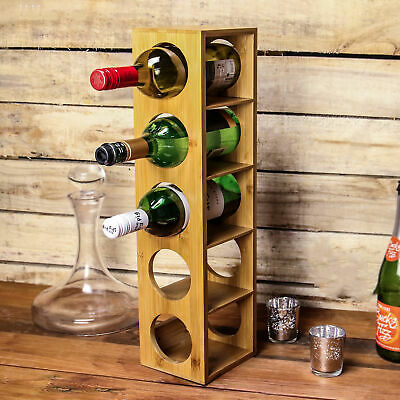 bamboo wine rack wall mounted 5 bottle holder stackable wood stand m w 5055884520125 ebay