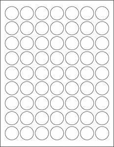 5 SHEETS 1 INCH ROUND BLANK WHITE STICKERS LABELS CUSTOM