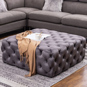 details about chesterfield velvet coffee table pouffe extra large footstool grey 100cm pouffes