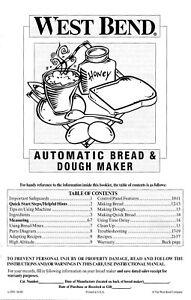 West Bend L5083 Bread & Dough Maker Machine Instruction