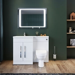 White Vanity Unit Basin Sink Toilet Bathroom Cabinets Combined With Water Tank Ebay