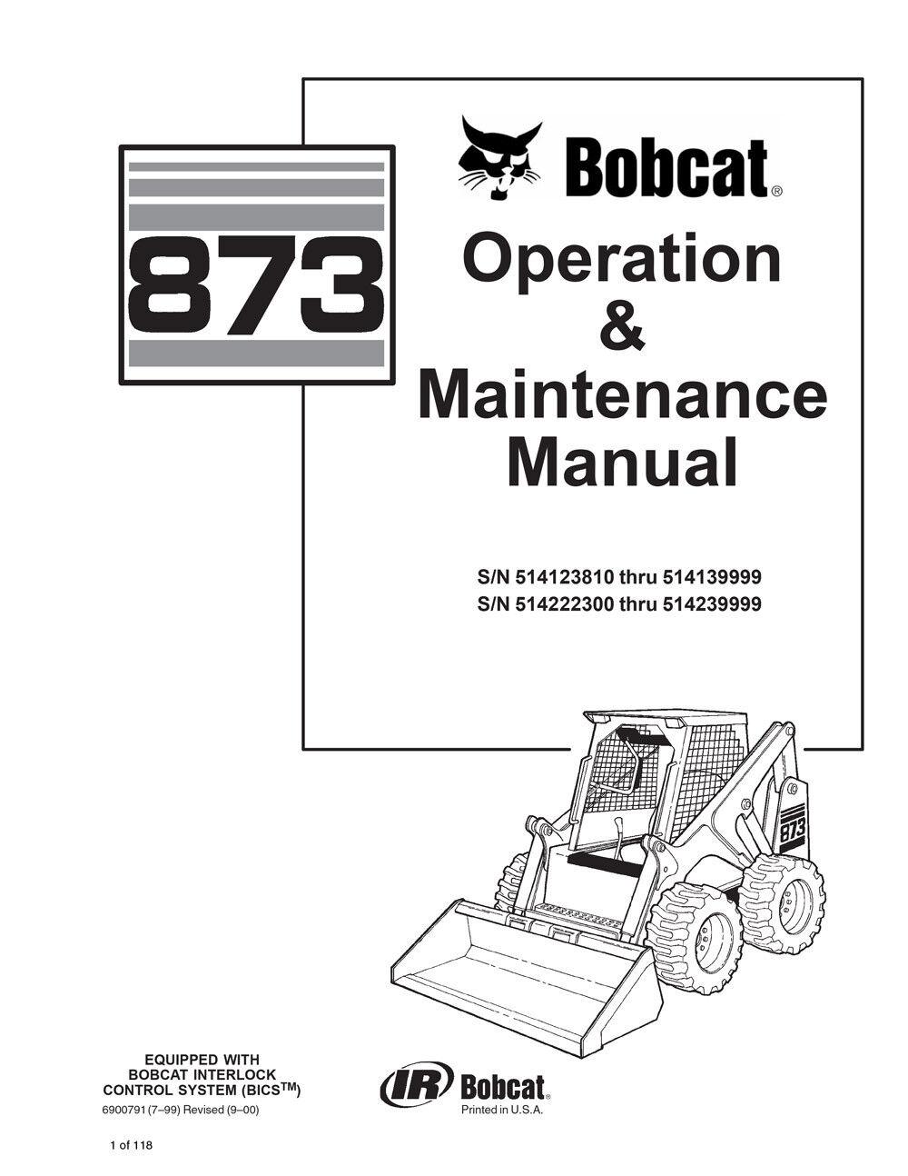 New Bobcat 873 Skid Steer Operation & Maintenance Manual