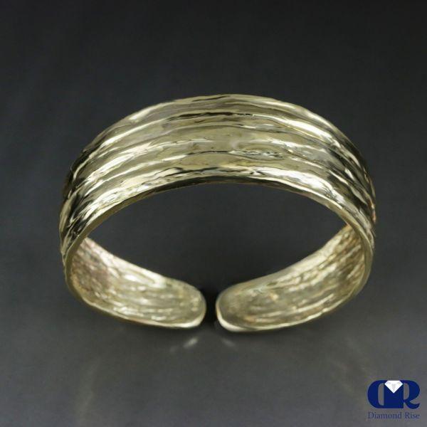 Handmade Diamond In Solid 10k Gold Open Bangle Bracelet