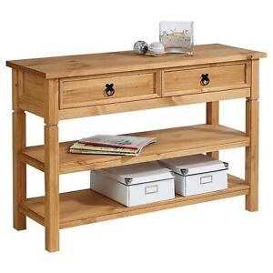 details sur console table meuble d appoint style mexicain 1 tiroir et 2 etageres pin massif