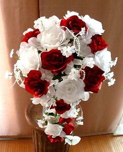 Brautstrau Hochzeitsstrau bordeaux wei Blumenstrau
