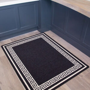 kitchen mats islands with seating and storage details about traditional black anti slip washable durable hallway runners rugs image is loading