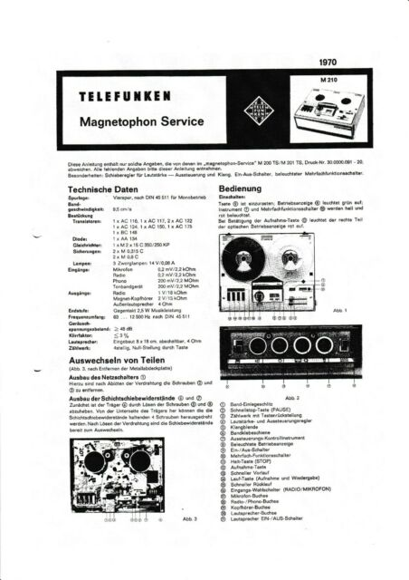 Service Manual instructions for tele radio Magnetophone M
