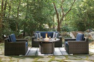 details about ashley furniture grasson lane 3 piece outdoor patio lounge set