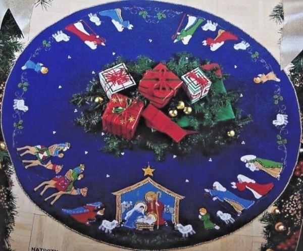 Bucilla Nativity Felt Christmas Tree Skirt Kit 82720 Blue