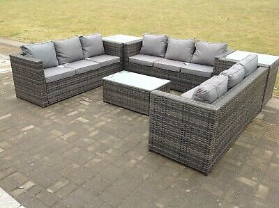 9 seater u shape corner rattan garden furniture sofa table outdoor conservatory ebay