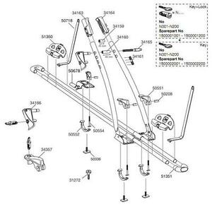 Thule FreeRide 532 Roof Mounted Cycle Carrier Spare Parts