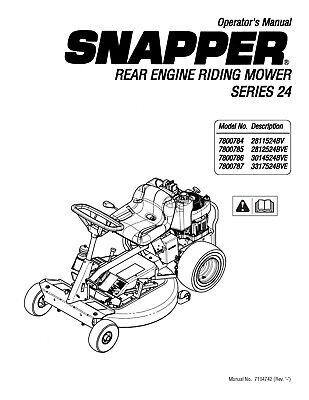 Snapper Series 24 REAR ENGINE RIDER Operator Maint