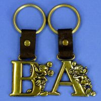 1-DISNEY MICKEY MOUSE KEY CHAIN BRASSY WITH LEATHER STRAP ...
