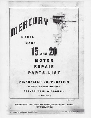MERCURY MARK 15 & 20 Outboard Motor Service & Owners