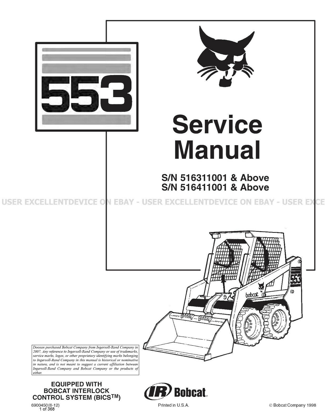 Bobcat 553 Revision Update Skid Steer Printed