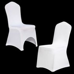 Fitted Chair Covers Ebay Cotton For Weddings 10 20 100 White Black Spandex Folding Wedding Image Is Loading