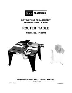 1985 Craftsman Router Table Model No. 171.25443