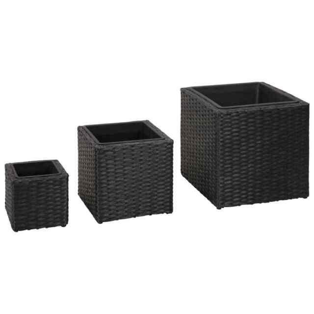 vidaxl 3x garden planters poly rattan black patio flower boxes pots raised bed