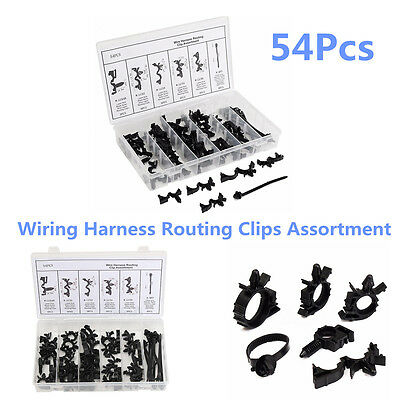54 Pcs/Set Car Nylon Wiring Harness Routing Clips