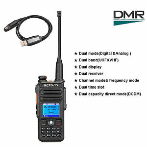 RT82 Dual Band 2m/70cm 3000CH Walkie Talkie+USB Cable DMR