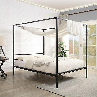 Modern Black Four Poster Bed Frame Metal Bed Frame 5ft King Size Ebay