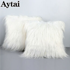 details about 18 luxury shaggy faux fur pillow cases fluffy plush throw sofa cushion cover