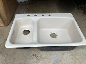 details about vintage kohler porcelain top mount kitchen sink white double as is farmhouse
