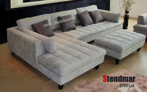 details about 3 piece modern grey microfiber sectional sofa set s168lg