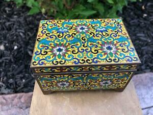 Chinese Cloisonne Enamel Box on Yellow Ground with Florals Antique Bronze