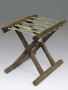 stool chair in chinese white aeron a antique wood rope folding 10 6 h light tone image is loading