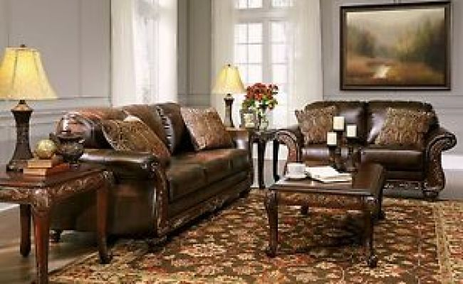 Vanceton Mocha Brown Leather Traditional Wood Sofa