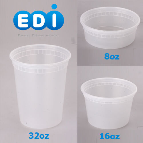 EDI 8oz 16oz 32 oz Round Plastic Deli Food Containers with Lids BPA FREE 2