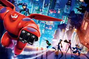 "Big Hero 6 Comic Hero Movie 36"" x 24"" Large Wall Poster Print Fan Art"