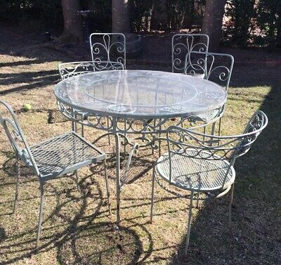 vintage outdoor wrought iron table glass top 6 chairs local pick up only ebay