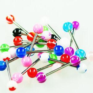 Brust Zungen Piercing Set 20 UV Kugeln + 10 Stäbe ANGEBOT Barbell Balls Bunt