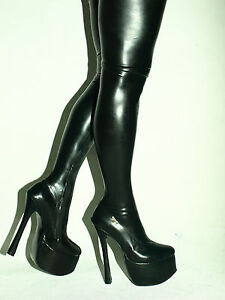 Image Is Loading Highs Heels Latex Rubber Fetish Boots Size 4