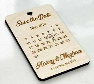 Details About Wedding Save The Date Personalised Wood Invitation Fridge Magnet Invite