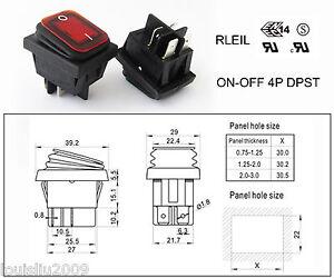 Red RLEIL RL2(P) Waterproof IP65 ONOFF Boat Car Rocker Switch 1610A 125250VAC | eBay