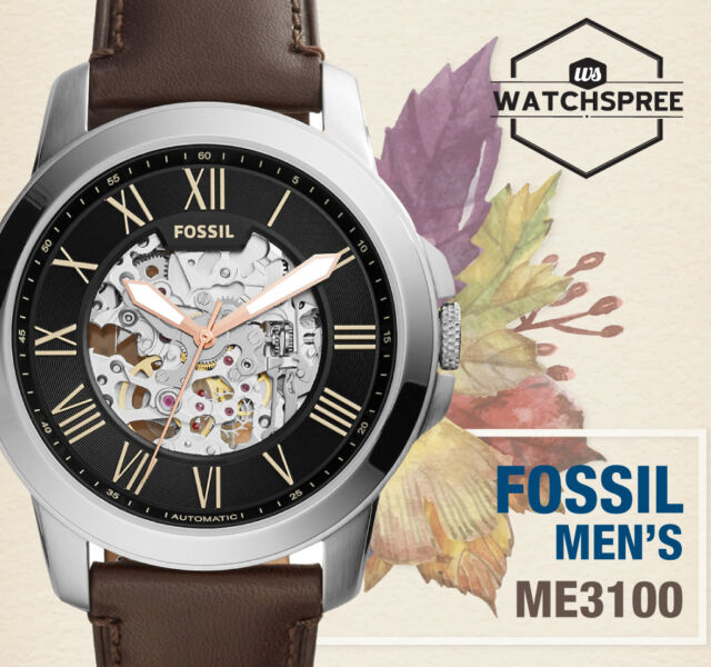 Fossil ME3100 Grant Automatic Brown Leather Men's Watch for sale online   eBay