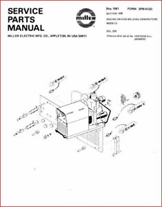 MILLER DEL-200 SERVICE PARTS MANUAL EFF. W/ HE815258 THRU
