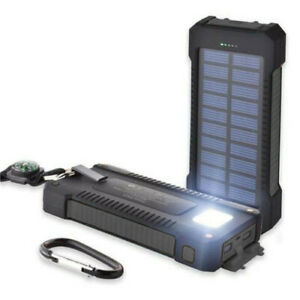 Solar Power Bank 20,000mAh Portable Dual USB External Waterproof Battery Charger