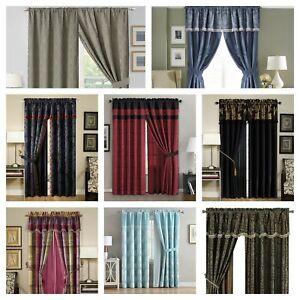 detalles acerca de chezmoi collection 4 piece jacquard windown curtain set black gold red blue
