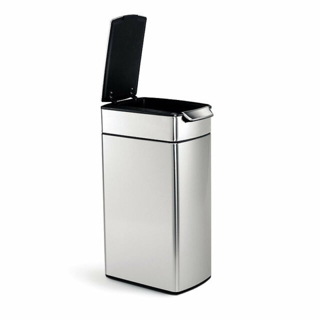 simplehuman kitchen trash can grey table 40 liter 10 6 gal stainless steel slim touch bar waste bin litre