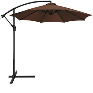 details about 10 ft patio umbrella offset outdoor market umbrella base weight included brown