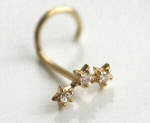 750 ECHT GOLD ☺ Spirale Nasenpiercing Piercing Nasenstecker 3 Sterne
