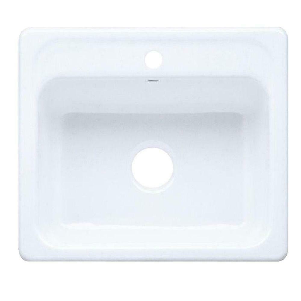 kohler mayfield drop in cast iron 25 in 1 hole single bowl kitchen sink in white