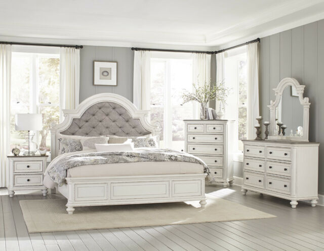 Gray Fabric 4pc Bedroom Set Est King Size Bed Dresser Mirror Nightstand For Sale Online Ebay